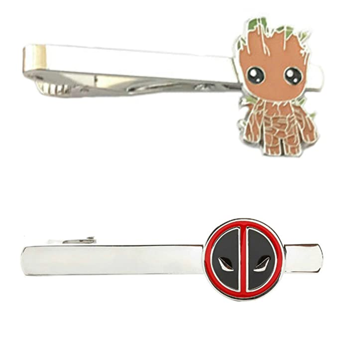 Tiebar Tie Clasp Set of 2 Wedding Superhero Logo w//Gift Box DP /& Groot