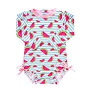 RuffleButts Baby/Toddler Girls Whimsy Watermelons One Piece Rash Guard - 0-3m