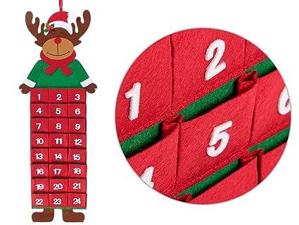 Calendrier De L Avent Feutrine.Alsino Calendrier De L Avent Murale En Feutrine Elan 948127 Tres Doux Decoration Numerotes De 1 A 24 A Suspendre Decorer La Maison Pour Noel Fetes De