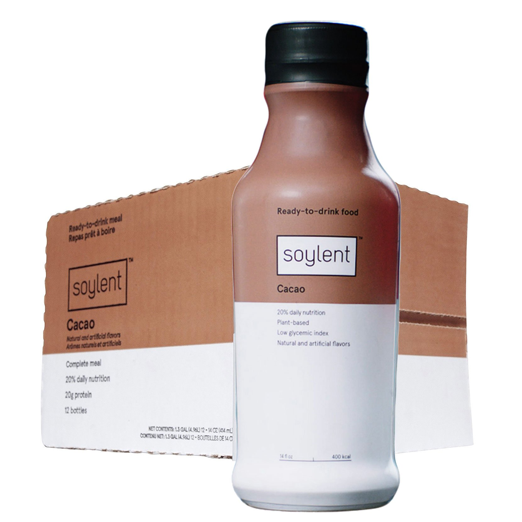 Soylent Cacao, Ready To Drink Breakfast in a Bottle, Nutritionally Complete Meal Replacement Beverage, 14 oz, 12 Pack