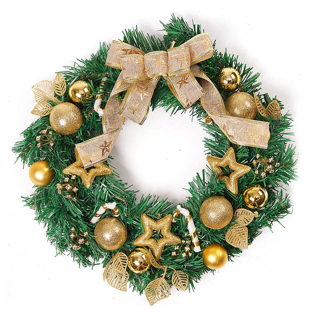 Gold Christmas Wreath.Amazon Com Baidercor 16 Holiday Christmas Wreath