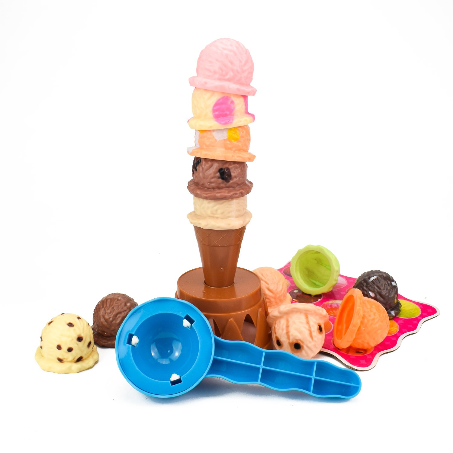 Jellydog Toy Ice Cream Stacking Tower, Ice Cream Balance Game for Kids, Food Pretend Play Toy Set, Fun Little Balance Toys for Birthday Party,12 Scoops Ice Cream