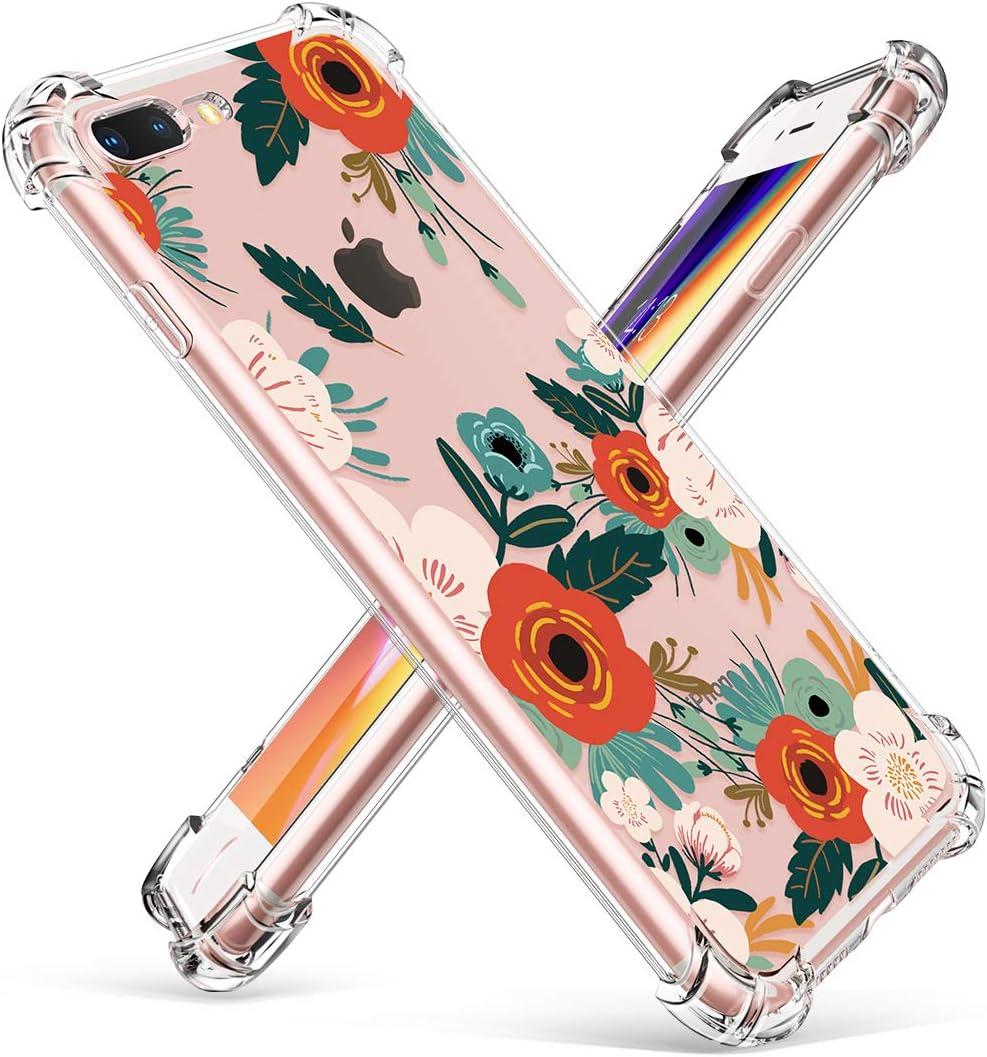 FloweringReseda Green GVIEWIN Clear Case for iPhone 8 Plus7 Plus