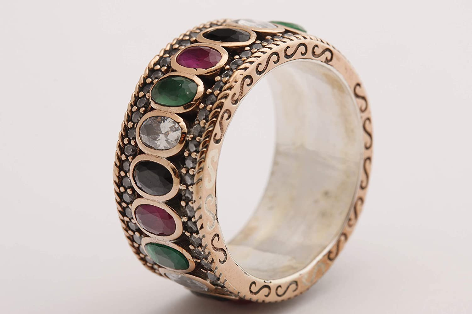 Turkish Handmade Jewelry Oval Cut Shiny Emerald Pink Ruby Sapphire Topaz 925 Sterling Silver Band Ring Size 8.5