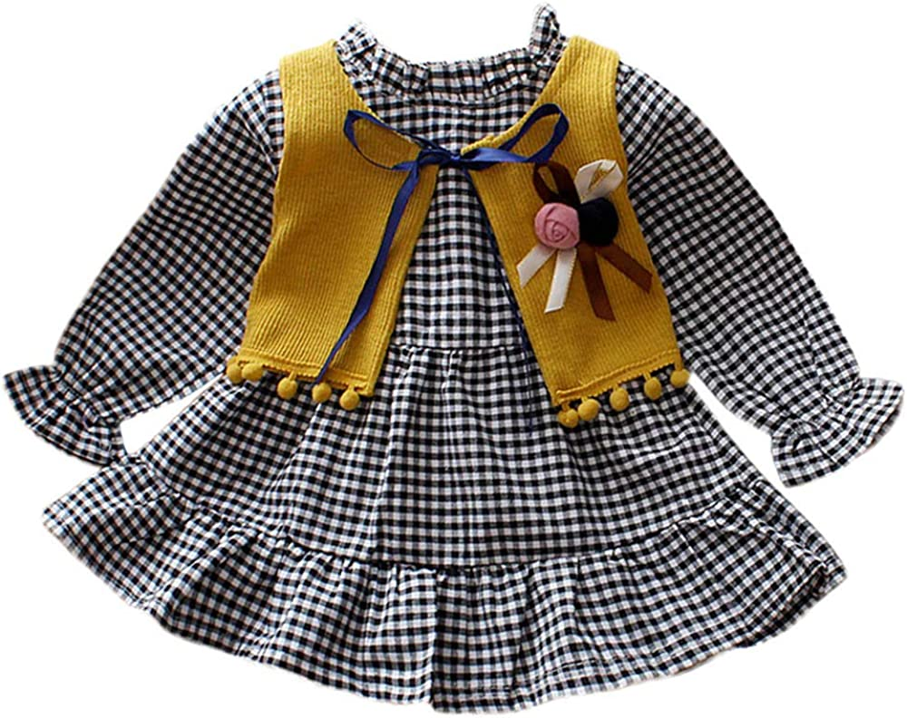 Dream/_mimi Baby Girls Long Sleeve Plaid Dress+Lace Vest Two-Piece Set