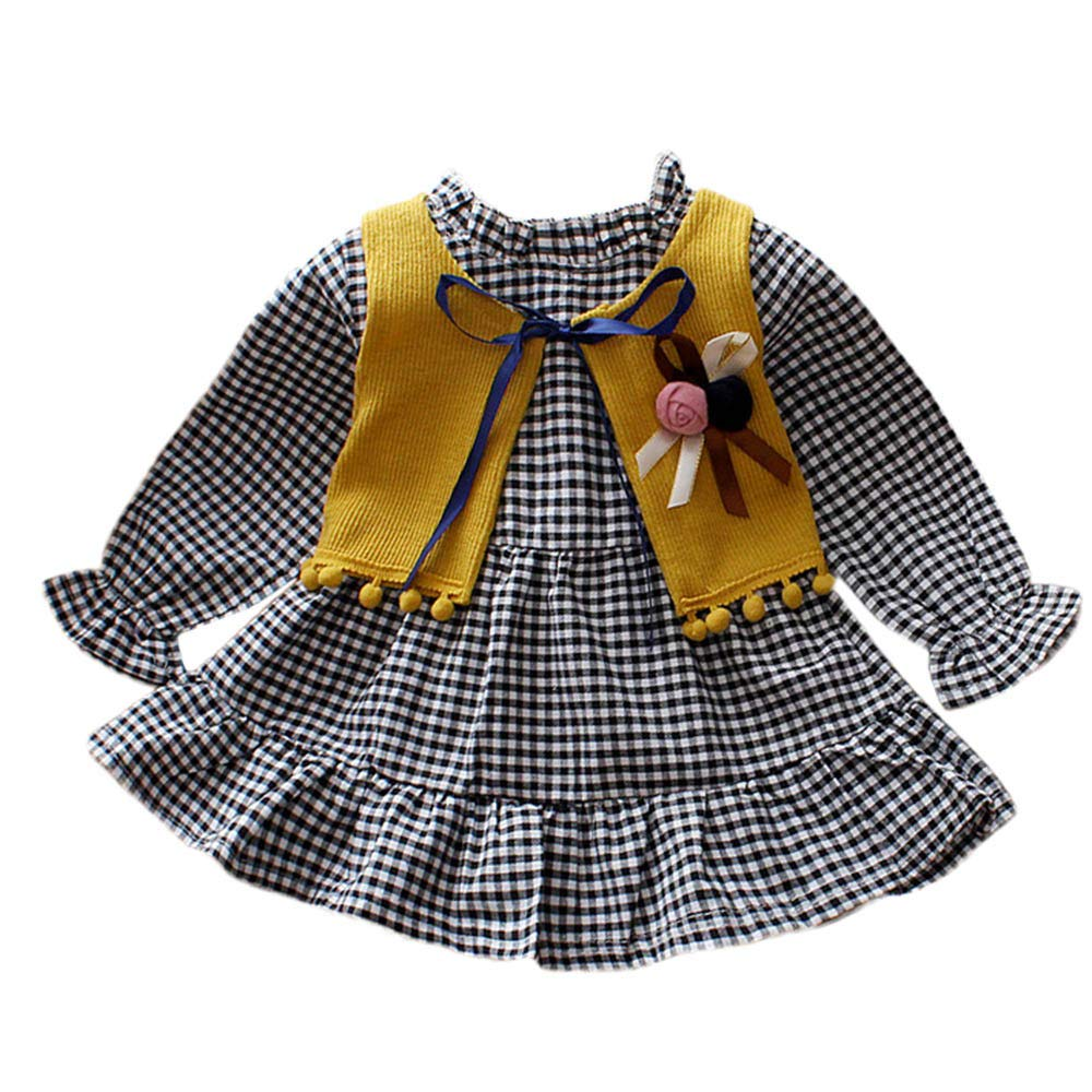 Baby Girl Dress,Fineser Cute Newborn Infant Baby Girls Plaid Ruffle Dress+Bow Tie Floral Knitted Waistcoat Clothes Set 2 Color (Yellow, 3-6 Months(70))
