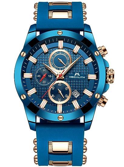 ec4af082293e Relojes azules para hombre Reloj de hombres militar cronógrafo luminosa  impermeable deportivo Reloj de cuarzo analógico