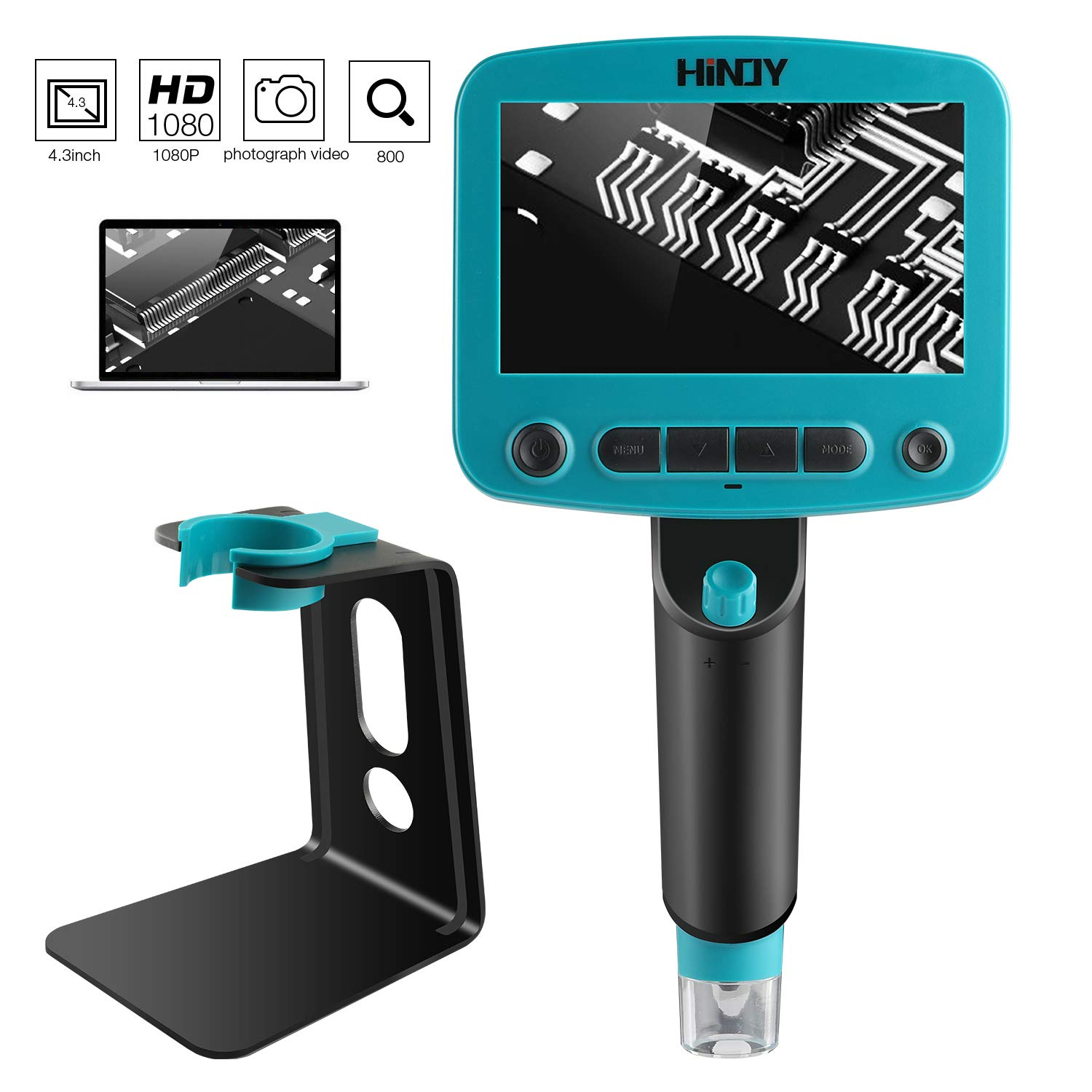 HINOY 4.3 inch HD LCD Digital USB Microscope Camera 1x to 800x Magnifier Zoom 5Mpix Portable with 8 Adjustable LED Lights Inspection Camera Photograph Video Recorder for PC