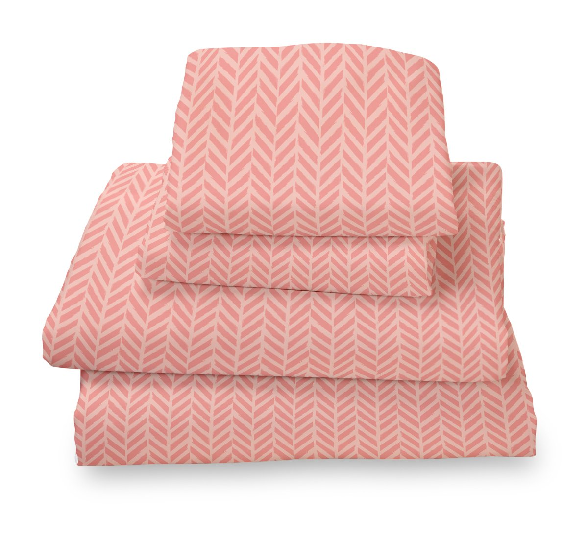 Full Sheet Set Coral Herringbone - Double Brushed Ultra Microfiber Luxury Bedding