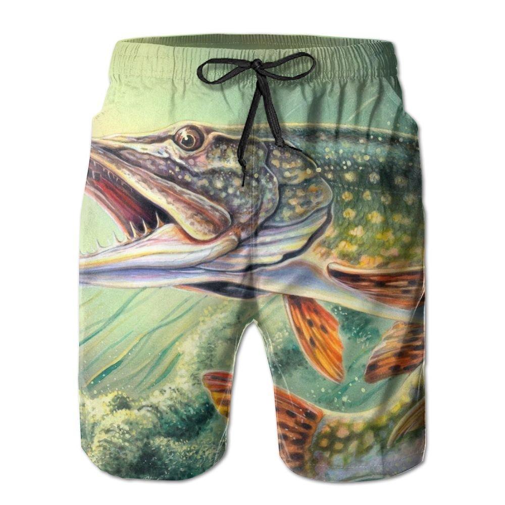 Maikuzi Fishing Lure Elastic Mens Boardshorts Swim Trunks Persionality Men Tropical Running Workout Board Shorts