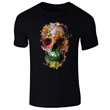 dfee735f6ebaff Floral Skull Skeleton Flowers T-Shirt - Mens Womens and Kids Sizes:  Amazon.co.uk: Clothing
