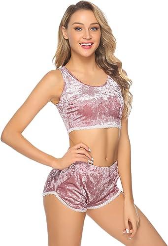 Aibrou Mujer Conjunto de ropa deportiva Secado r/ápido Top y pantalones cortos Chandal 2 piezas ropa de fitness para Gimnasio Yoga de entrenamiento