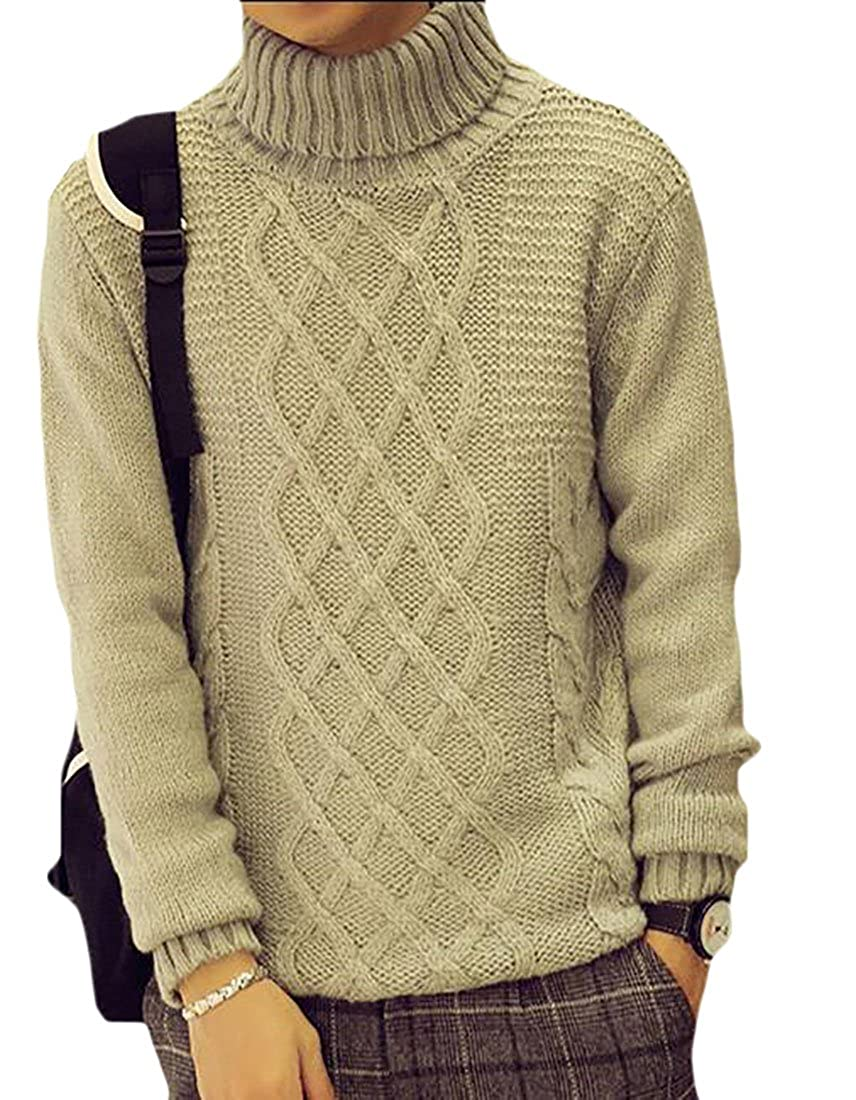 xtsrkbg Mens High Neck Long Sleeve Cable Knit Pullover Slim Fit Sweater