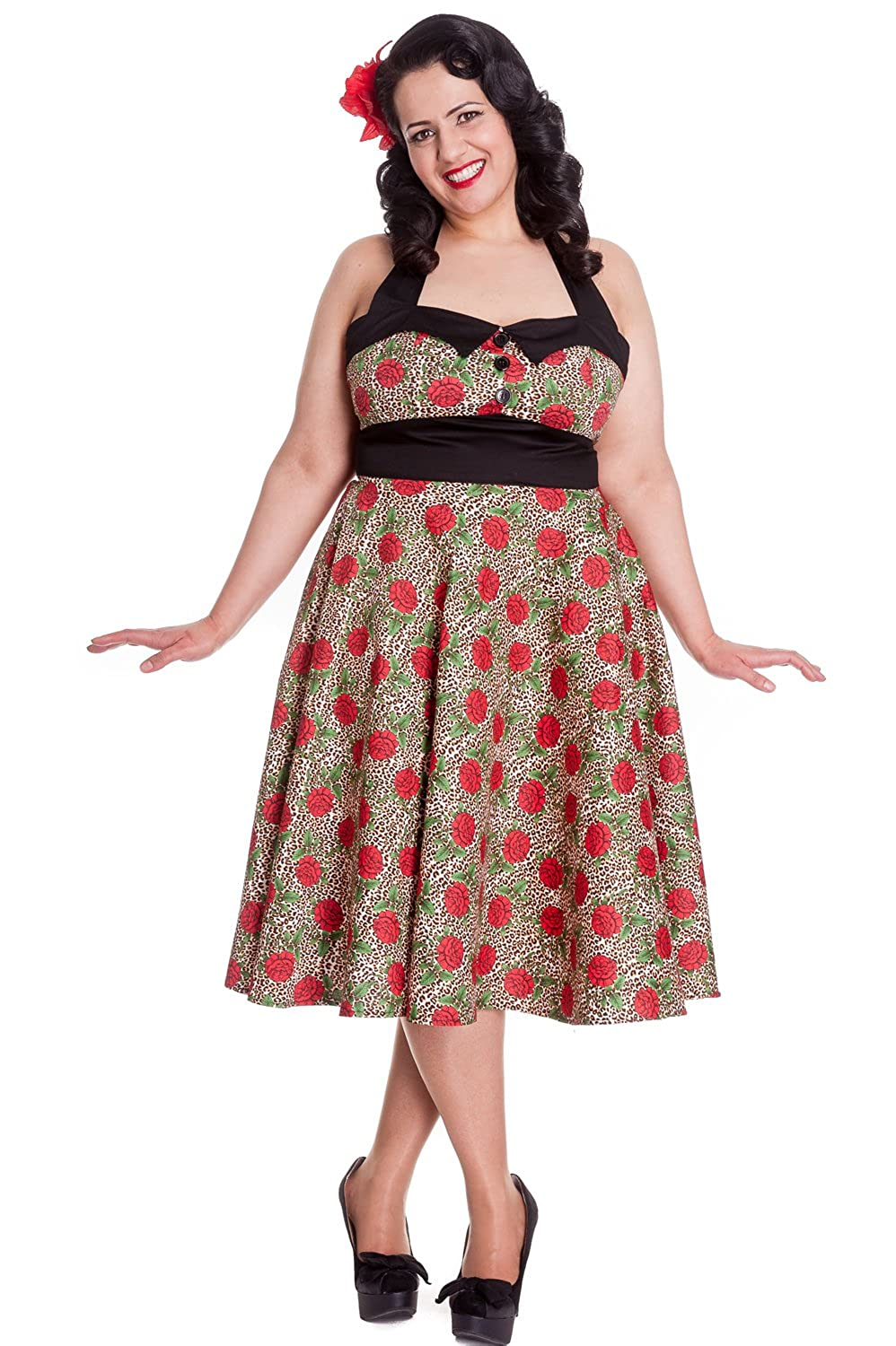 Plus Size Swing Dresses, Vintage Dresses Hell Bunny Plus Rockabilly Charlie Dress in Leopard and Red Rose Party Dress $69.00 AT vintagedancer.com