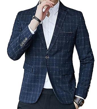 698d7dd67e5b Fensajomon Mens England Casual Regular Fit Lapel Collar One Button Plaid  Print Blazer Jacket Coat Black