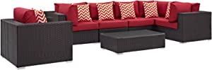 Modway Convene Wicker Rattan 7-Piece Outdoor Patio Sectional Sofa Furniture Set in Espresso Red