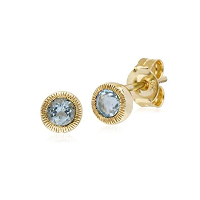 Gemondo Sapphire Earrings, 9ct Yellow Gold Sapphire Single Stone Round Milgrain Stud Earrings