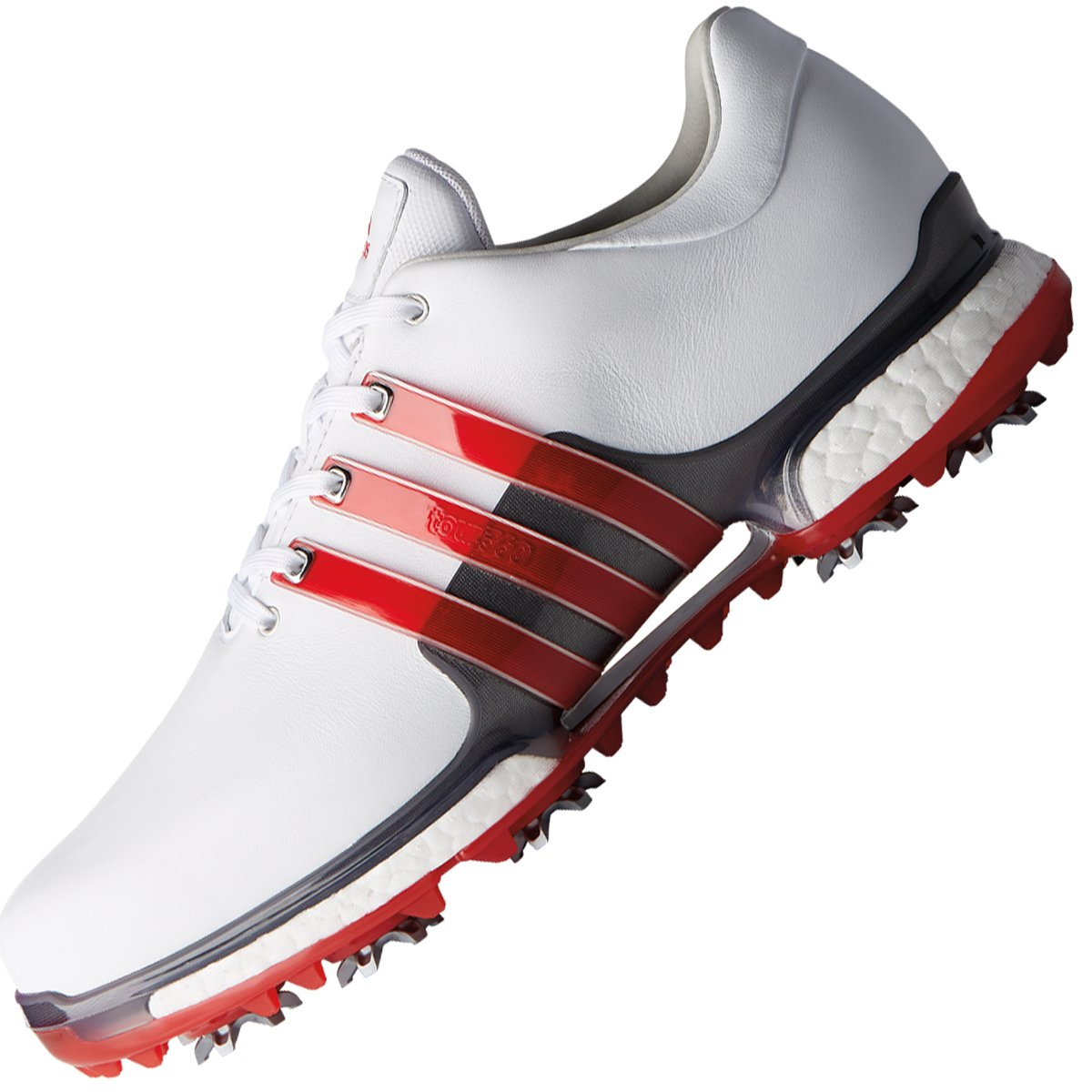 Adidas Golf 2018 tour360 2.0 Boostレザーメンズゴルフシューズ – Wide継手 B079T8GPZZ 9.5UK/44EU/10US ホワイト/スカーレット ホワイト/スカーレット 9.5UK/44EU/10US