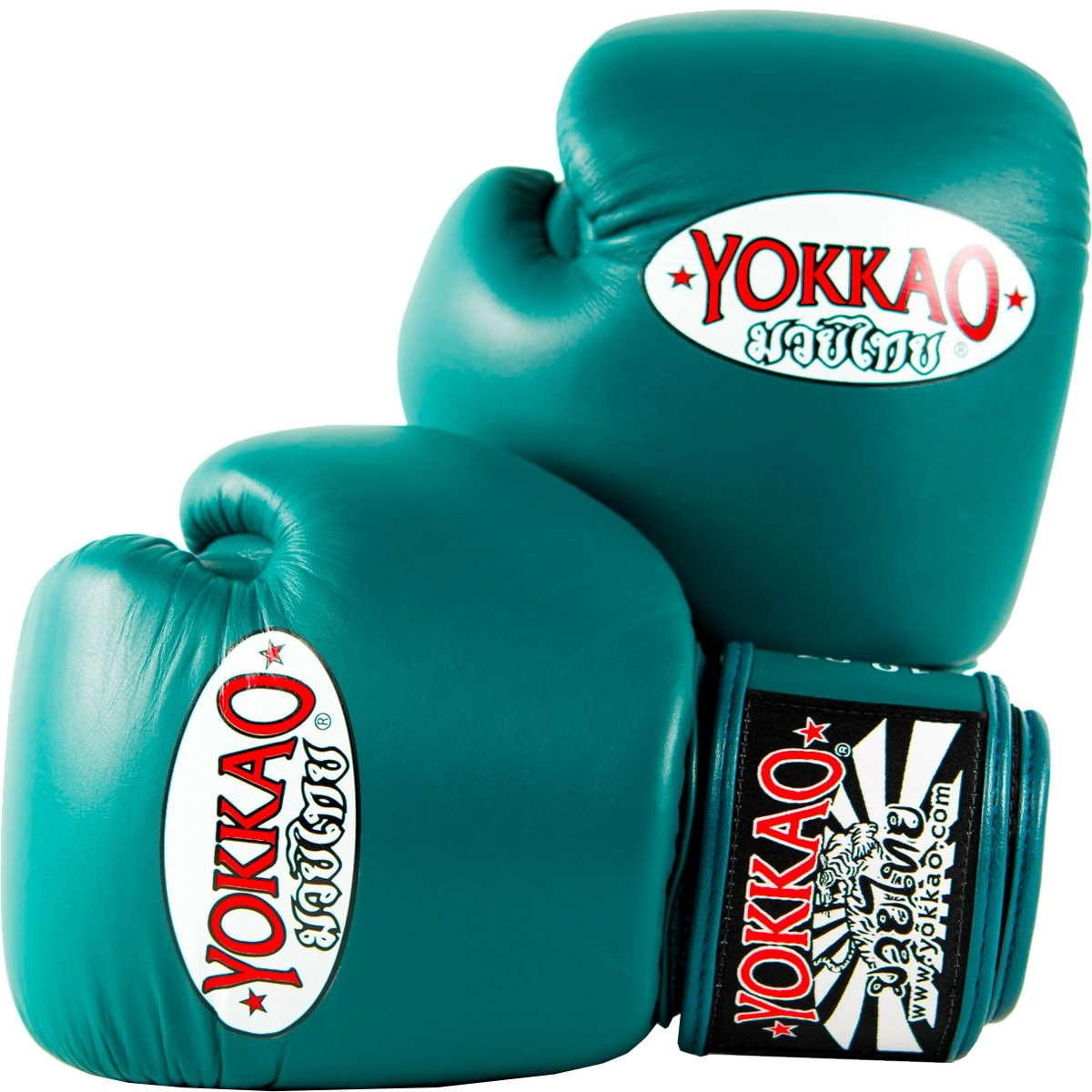 YOKKAO Cowhide Fight Gloves for Muay Thai, Boxing, Kickboxing and Martial Arts (Petroleum / 8 oz) by YOKKAO (Image #1)