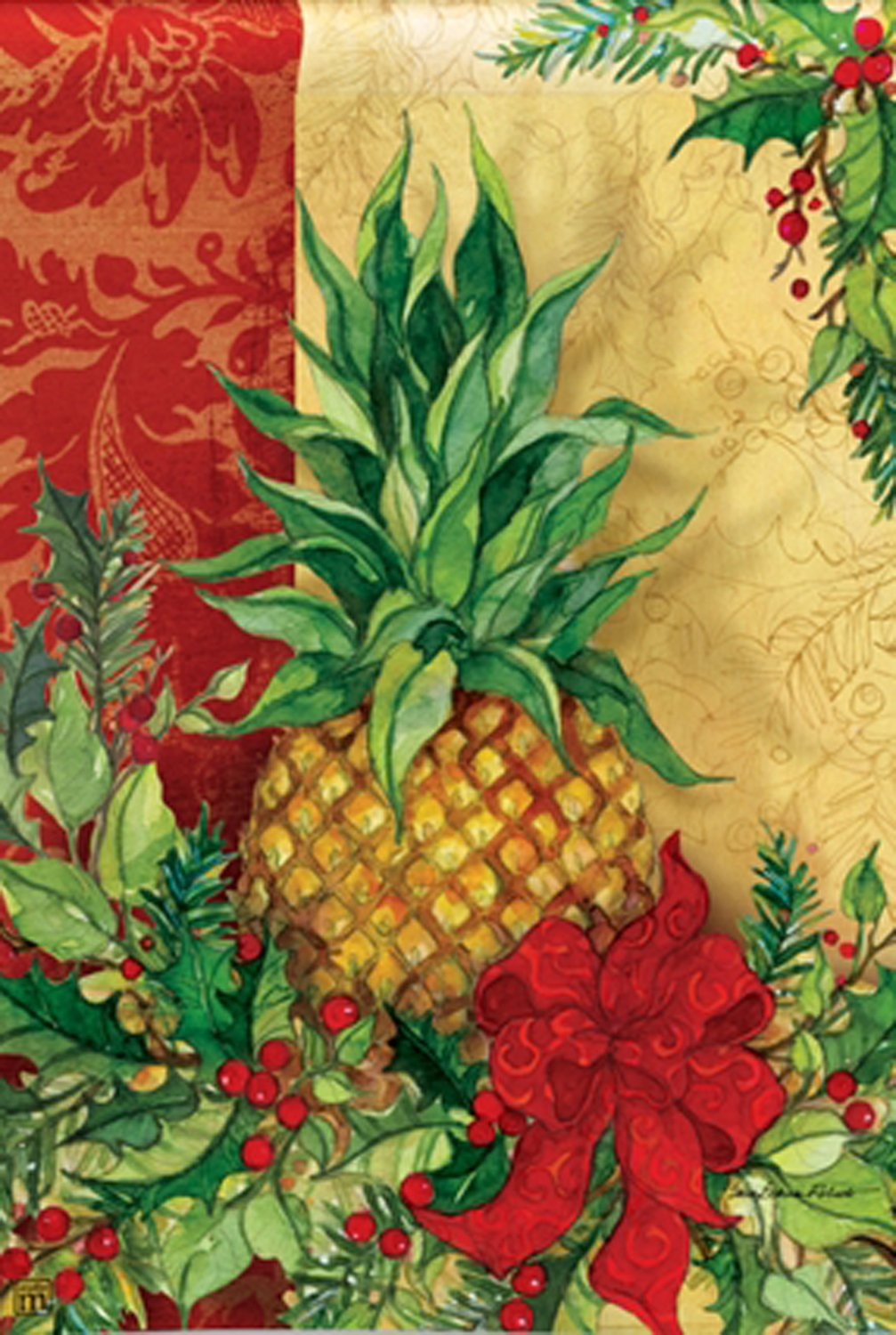 Christmas Pineapple.Christmas Pineapple House Flag Red Berries Holly Holiday Decorative 28 X 40