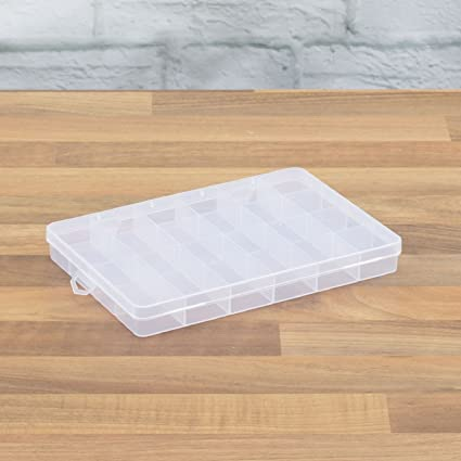 24 COMPARTMENT PLASTIC STORAGE BOX JEWELRY EARRING CASES CONTAINER CRAFT BEAD UK