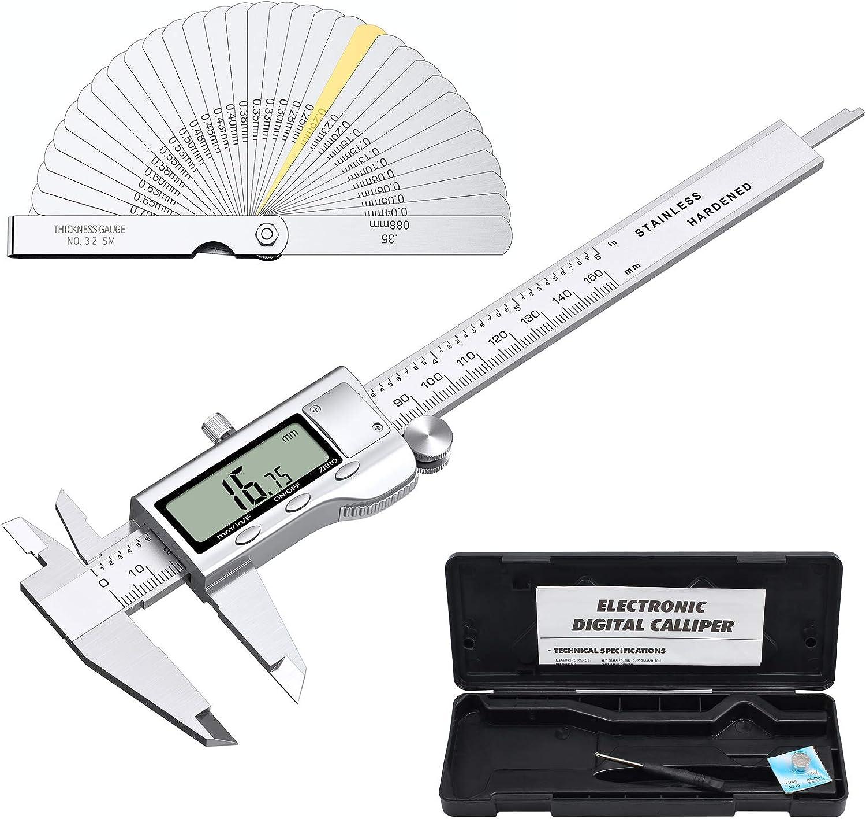 Proster Digital Vernier Caliper 6inch/150mm + 32 Feeler Gauges Dial Calipers Electronic Caliper Fractions/Inch/Metric Calipers Measuring Tool for Length Width Depth Inner/Outer Diameter
