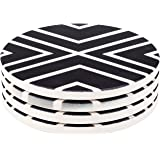 Seamersey Geometric Round Absorbent Natural Ceramic Thirsty Stone Coaster Set for Drinks - Set of 4