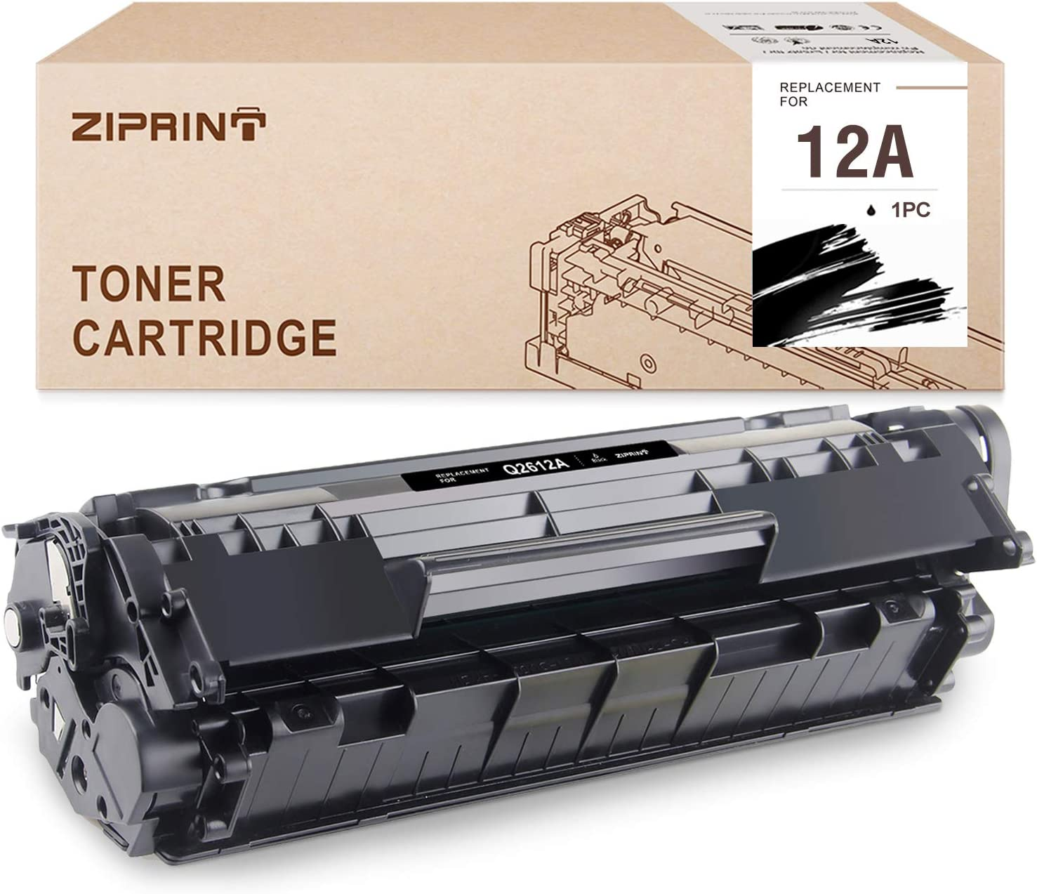 Ziprint Compatible Toner Cartridge Replacement for HP 12A Q2612A use with HP Laserjet 1020 1018 1012 1022 3015 3020 3030 3050 3052 3055 (Black, 1-Pack)