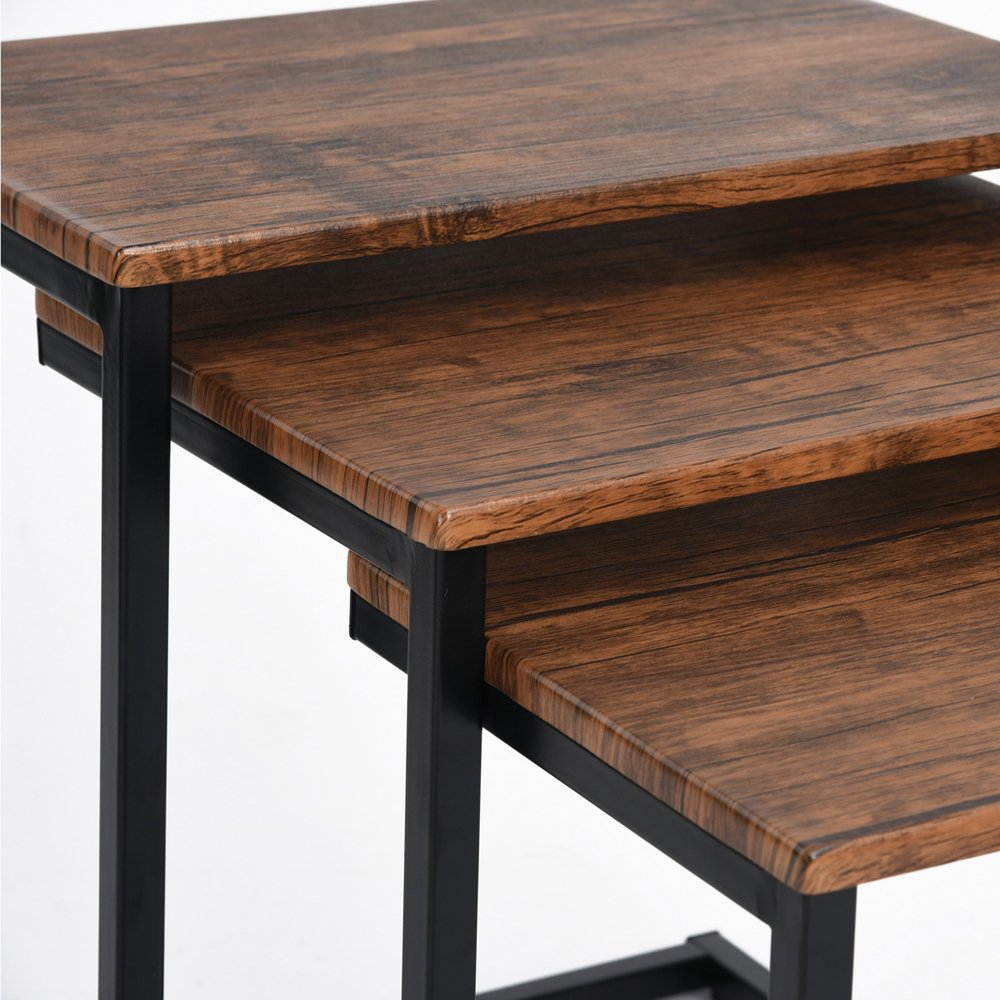 Framodo 3pc Stacking Nesting Coffee Table Set of 3 End Side Tables Set Living Room Sofa Snack Table Brown by Framodo