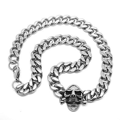 46270cb413c BOBIJOO Jewelry - Collier Chaîne Gourmette Homme Tête de Mort Biker Punk  Gothique Dark Acier 50cm