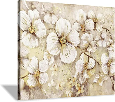 Flowers Canvas Wall Art Print Golden Botanical Blossoms Graphic Art Painting For Office Bedroom 24 X18 Posters Prints