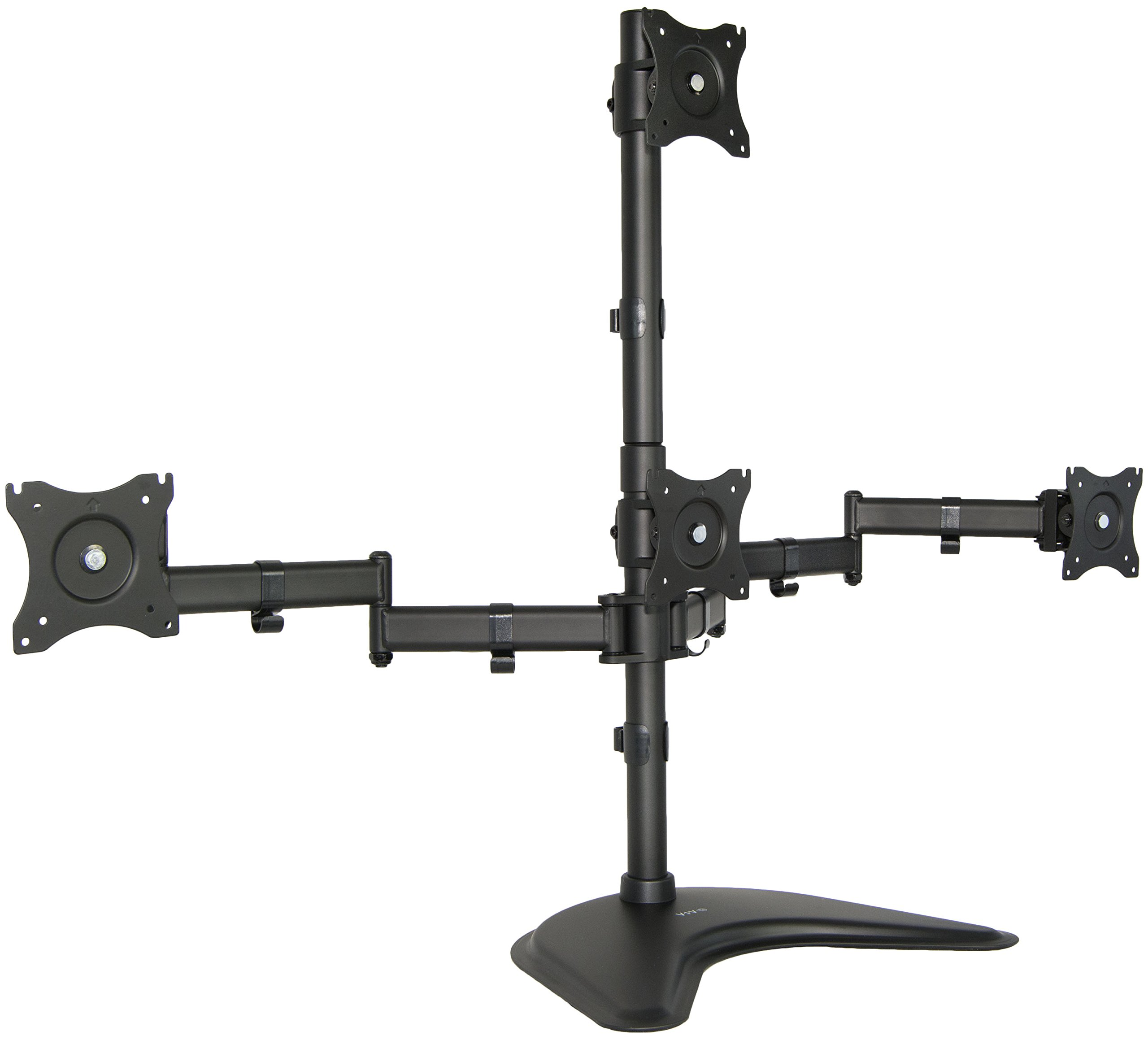 Quad LCD Monitor Desk Stand Mount Free-Standing 3 + 1 = 4 / Holds Four Screens up to 27'' (STAND-V004Z)