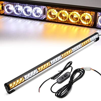 Emergency Light Bar 35.5 Inch Traffic Advisor Led Strobe Light Bar Kit Rainproof Warning Caution Turn Signals Directional Car Vehicles Pickup Trucks Tow Roof Rear Head (35.5 Inch, Yellow/White): Automotive