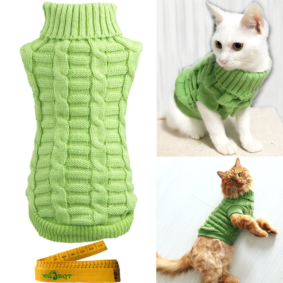 Wiz BBQT Knitted Braid Plait Turtleneck Sweater Knitwear Outerwear for Dogs & Cats