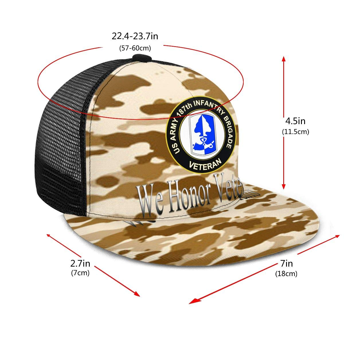 US Army 187th Infantry Brigade Veteran Classic Grid Caps Flat Along Baseball Hat Snapback Men Women Hats Adjustable
