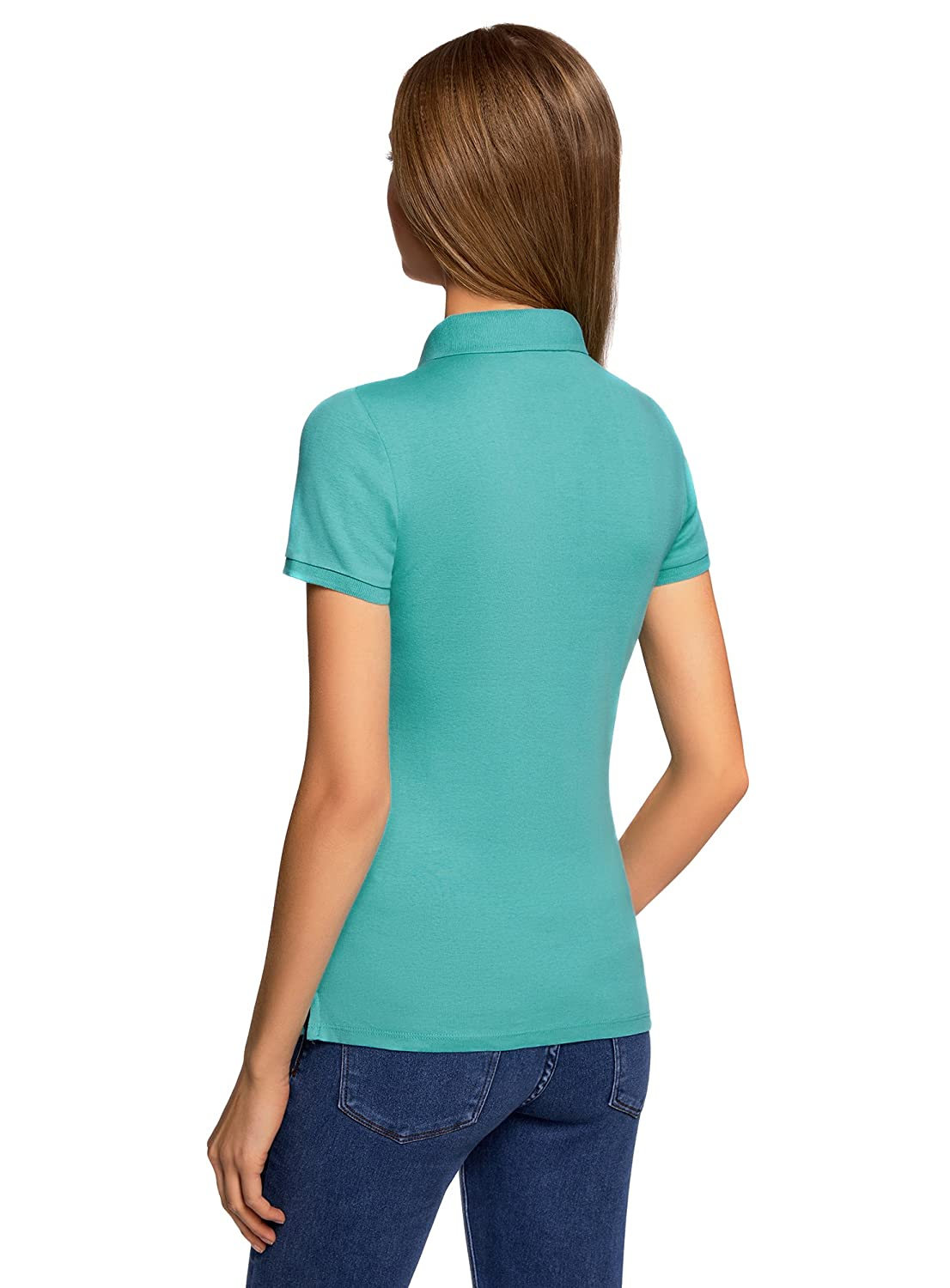 oodji Collection Damen Poloshirt mit Metallkn/öpfen und Stickerei