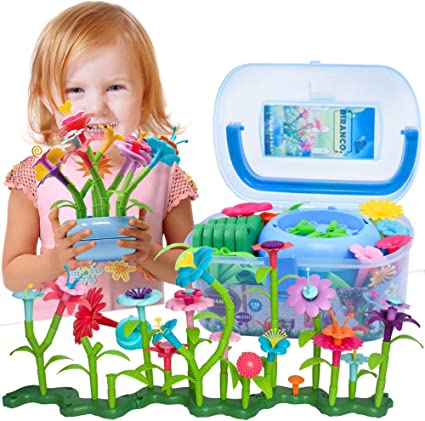 Flower Garden Building Toys BEMITON 109PCS Best Pretend Gardening/ Gifts for Educational Activity for Preschool Children Build a Bouquet Sets for 3,4,5,7 Year Old Toddler Girls