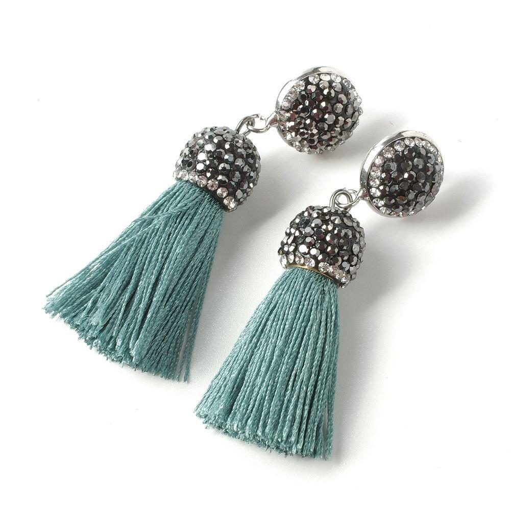 Women's Dangle Drop Short Tassel Earrings with Shell Pearl Black Rhinestone Top