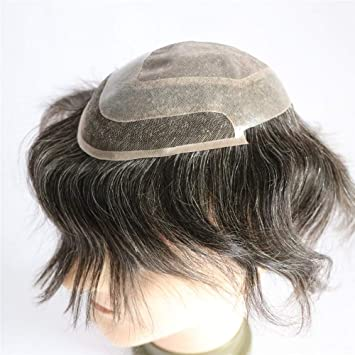 334913519 Lumeng Male Toupee Gray Hair Hairpiece Gray Men Toupee Fine Mono With PU  Hair Replacement Lace