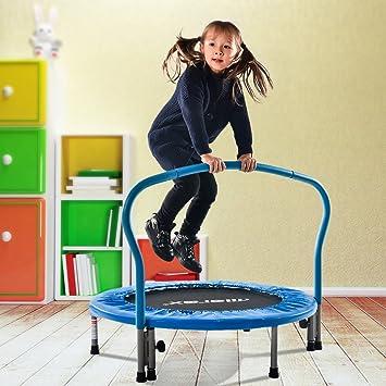 Merax Trampolin Kinder Indoor Fitness Klein Faltbar Klappbare Kindertrampolin TÜV-Geprüft Minitrampolin Indoortrampolin mit H