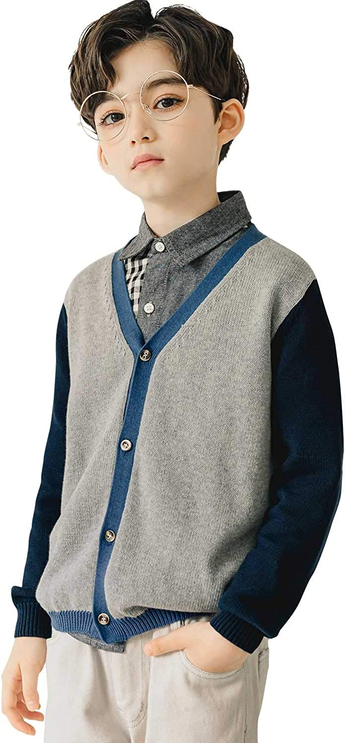 CUNYI Boys V-Neck Button Up Cotton Knit Cardigan Sweater Contrast Color Outerwear