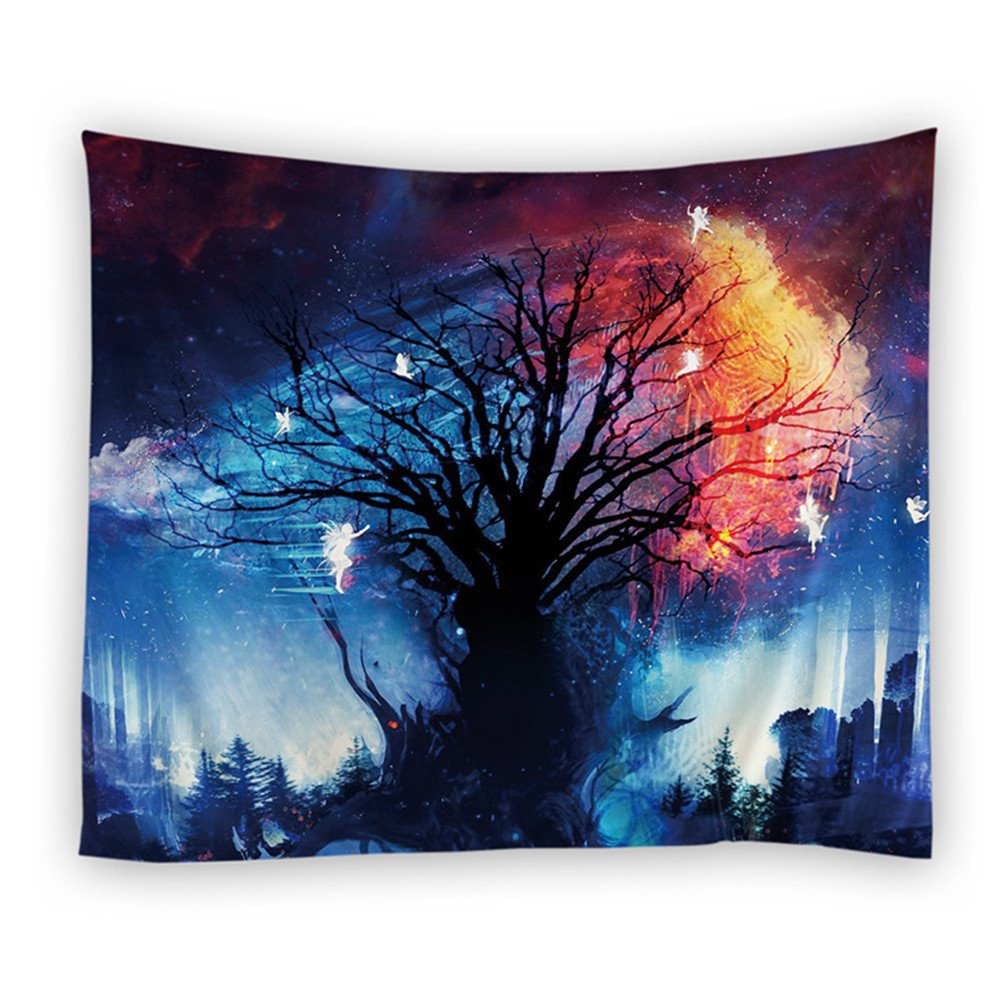 Mexidi Tapestry Wall Hangings Wall Blanket Art Dorm Shawl Beach Towel Throw Tapestry Decor Bedspread Bedroom Living Kids Girls Boys Room Dorm Accessories 78x57inchs (Blue Tree F)
