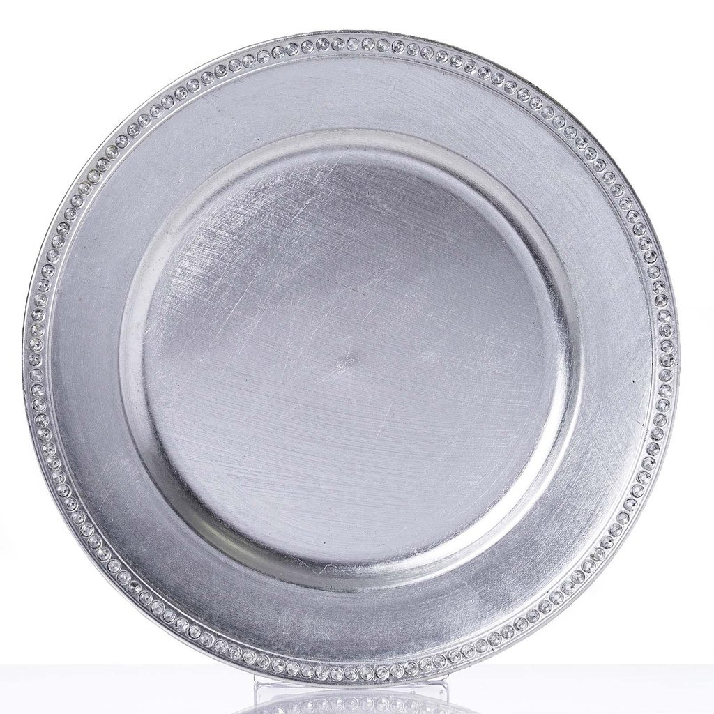 Tableclothsfactory 13'' Round Silver Crystal Beaded Acrylic Charger Plates Wedding Party Dinner Servers - Set of 6