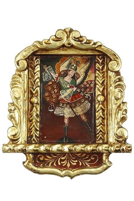 Arcángel Michael – Cuzco Colonial hecho a mano de Perú Retablo Folk Art con marco pintura