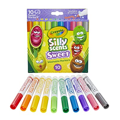 Crayola Silly Scents Sweet, Washable, Broad Line Markers, Pack of 10: Toys & Games