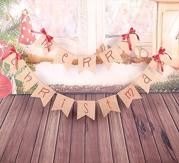 christmas decorations merry christmas banner cartoon font jute burlap christmas banner garlands with 4 - Burlap Christmas Banner