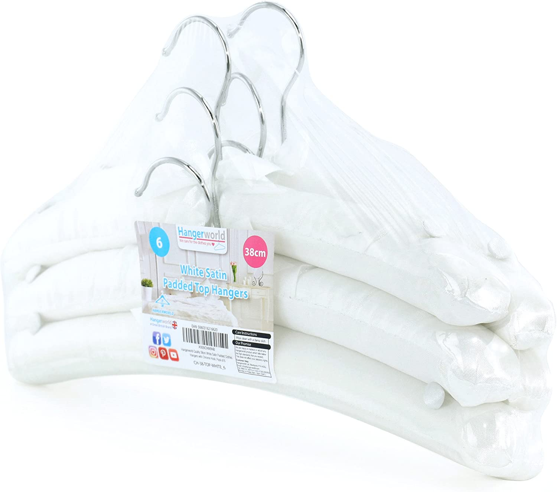 HANGERWORLD 10 White 38cm Satin Padded Cushioned Clothes Coat Garment Wedding Dress Lingerie Hangers.