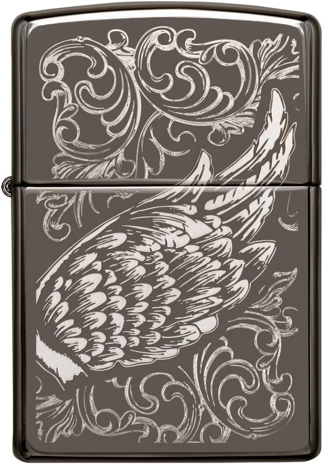 regular black Zippo Unisexs A GIFT OF WINGS windproof lighter