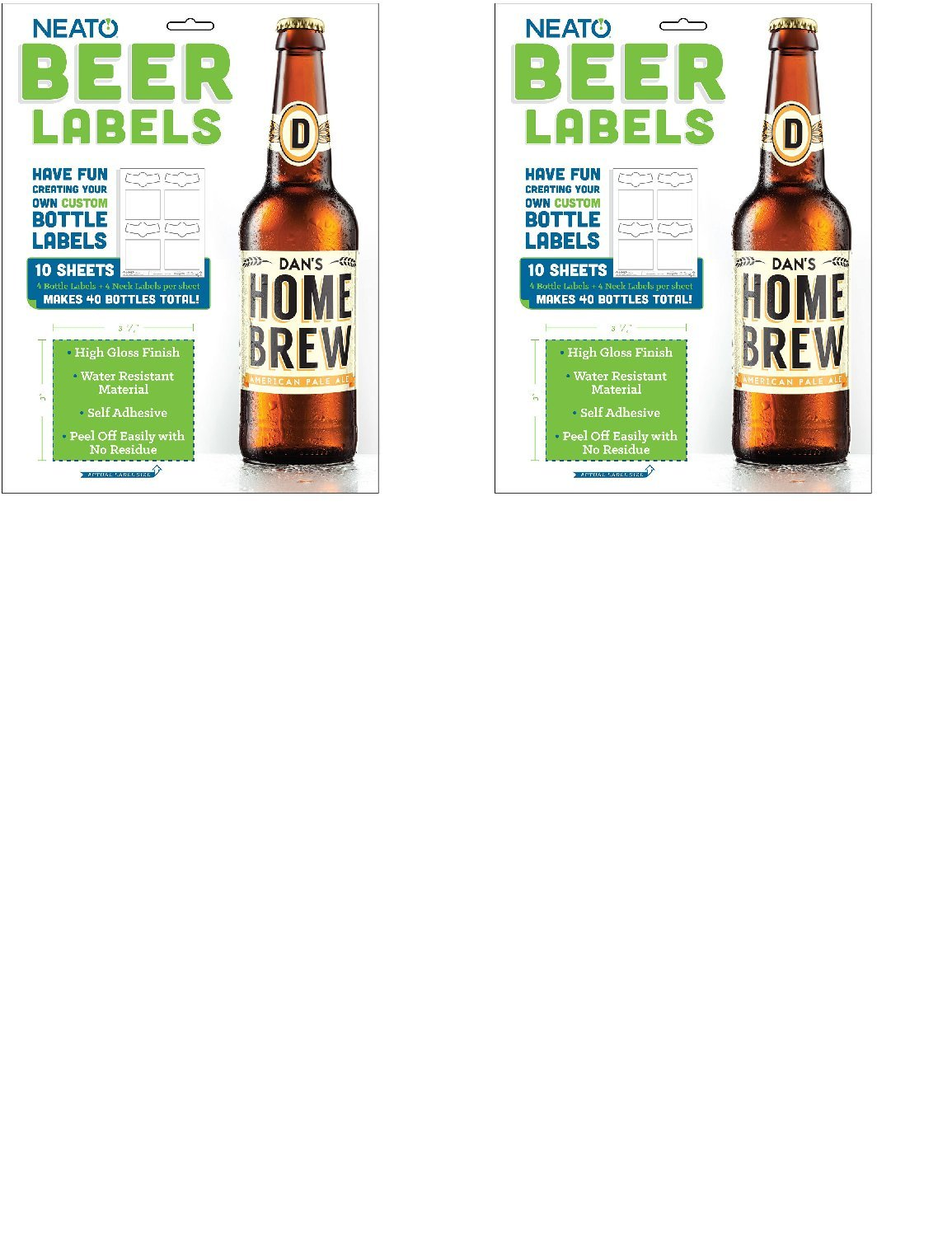 Neato Beer Bottle Labels with Online Beer Label Software Included - High Gloss - Water Resistant - Removable - 40 Labels ... (2)