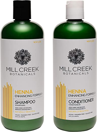 Mill Creek Henna Shampoo and Conditioner Bundle, 14 oz each